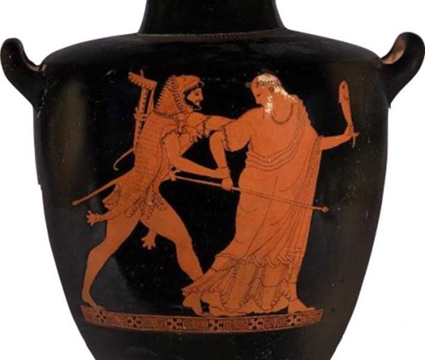 Nimrod/Herakles surprises Noah/Nereus from behind, grabbing him by the shoulder and by the wrist that holds his scepter, letting him know that his authority in the post-Flood world has come to an end. (Author provided)