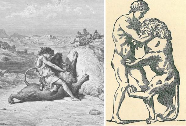Herakles is believed to be a derivative from Samson. Left: Samson slaying a lion (Wikimedia Commons). Right: Herakles fighting a lion (Wikimedia Commons)