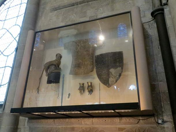 Original Black Prince Heraldic achievements on display in Canterbury Cathedral.