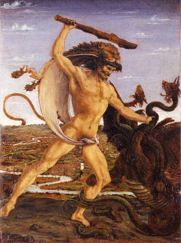 Hercules and the Hydra (ca. 1475); the hero wears his characteristic lionskin and wields a club.