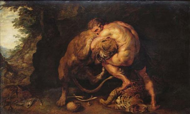Hercules and the Nemean lion (public domain)