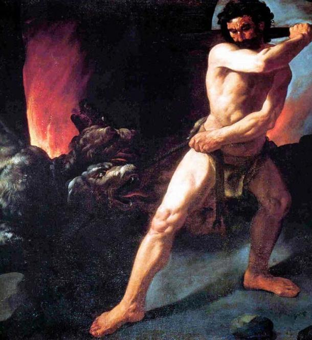 Hercules fighting Cerberus until he tires the beast but he does not kill him. Artist: Francisco de Zurbaran. 1634.