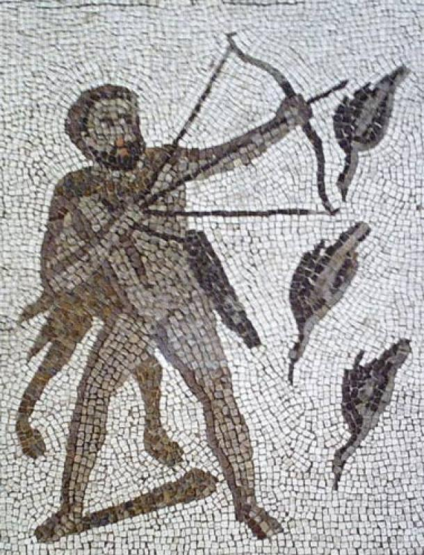 Hercules killing the Stymphalian birds with toxic arrows. Detail of The Twelve Labours Roman mosaic from Llíria (Valencia, Spain).