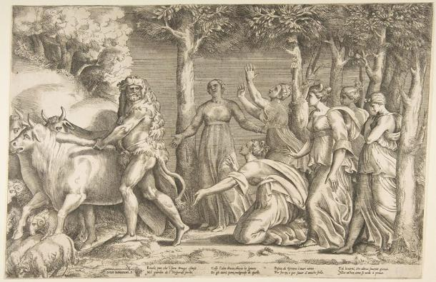 Hercules driving off the cattle of Geryon, at the right are the nymphs of Hesperides. (Giulio Bonasone (c.1531) / Public domain)