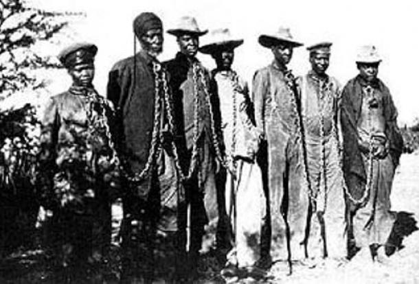 Herero chained during the 1904 rebellion