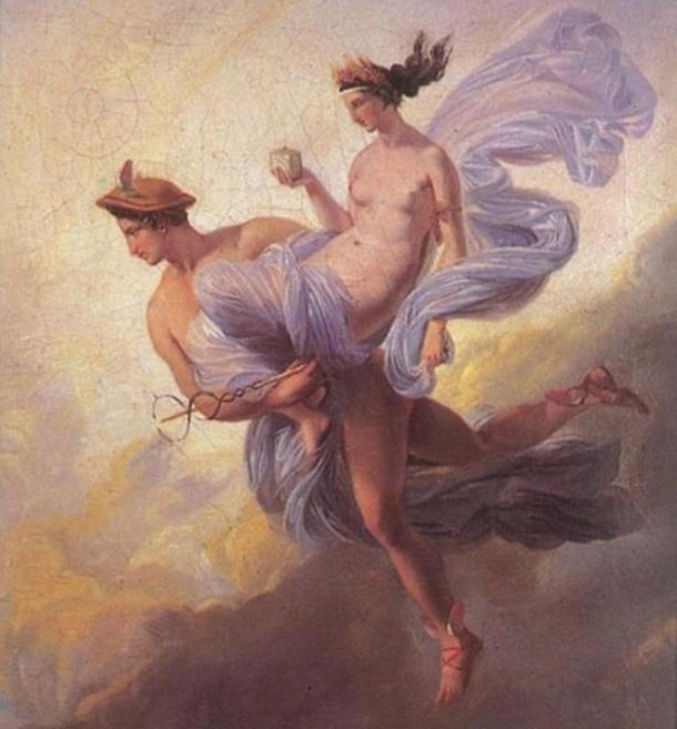 Hermes / Mercury carrying away Pandora by Jean Alaux