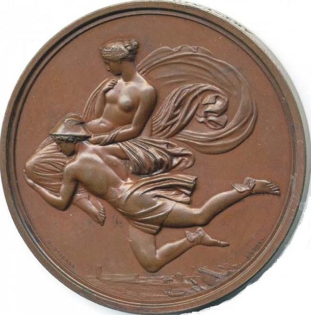 Hermes carrying Pandora down from Mount Olympus wearing traveller hat. (A medal based on a design by John Flaxman). (Public Domain)