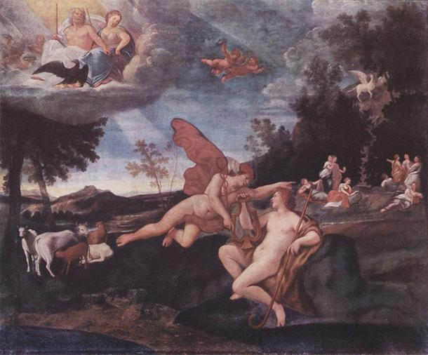 Hermes and Apollo with the cattle in the background. (Francesco Albani / Public domain)