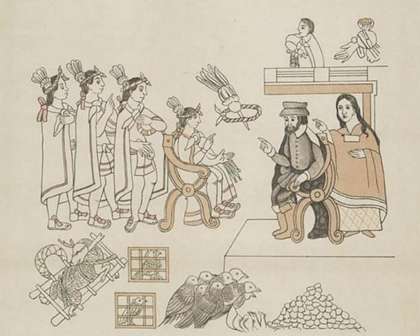 Hernán Cortés and La Malinche meet Moctezuma II in Tenochtitlan, November 8, 1519. Facsimile (c. 1890) of Lienzo de Tlaxcala.
