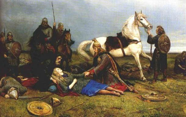 Hervors død, Peter Nicolai Arbo. Hervor was a shieldmaiden who dressed like a man, fought, killed and pillaged. Her story is presented in the Hervarar saga.
