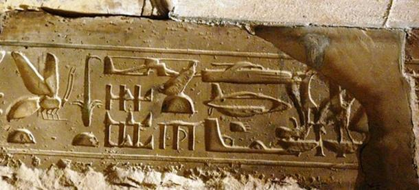 Hieroglyphs showing seemingly modern aircraft and vehicles in the Temple of Seti I in Abydos.