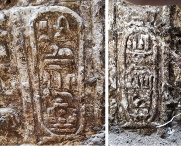 Hieroglyphs including the name of Ptolemy IV have been uncovered. (Ministry of Antiquities)