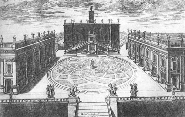 Michelangelo's design for Capitoline Hill, now home to the Capitoline Museums. Engraved by Étienne Dupérac, 1568. (Public domain)