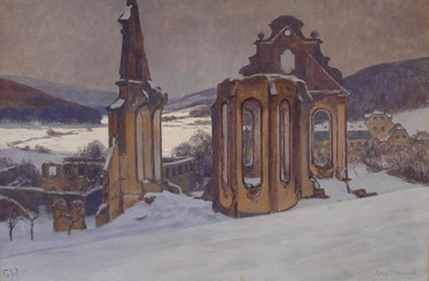 Himmerod Abbey by Fritz von Wille, pre-1941, church ruins before reconstruction
