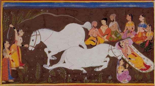 Illustration of the Hindu epic Ramayana depicting Ashwamedha (horse sacrifice).