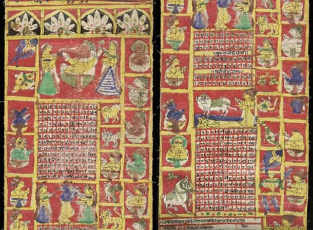 A page from the Hindu lunisolar calendar of 1871-72.