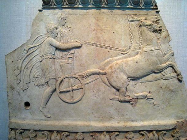 Hippodamia with Pelops in a racing chariot, from a fragmentary relief