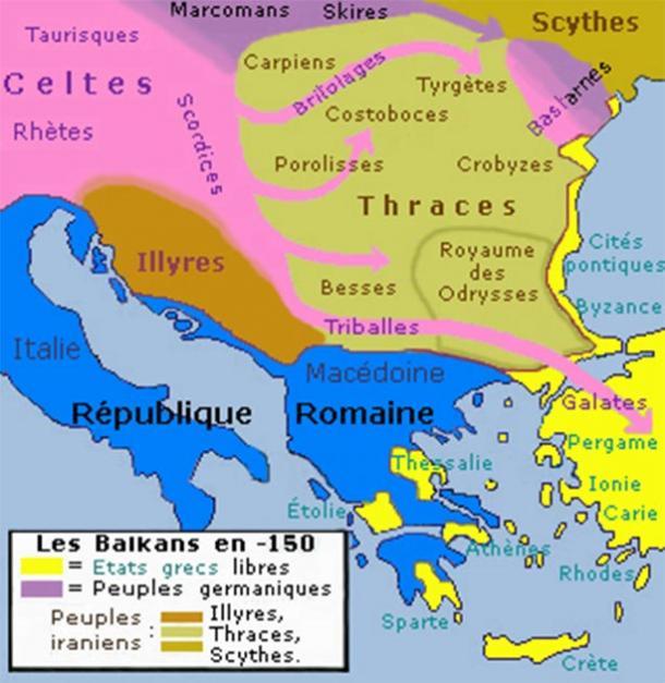 Historic map of Balkan peninsula including the Thracian territory from 150 BC. (Spiridon MANOLIU / CC BY-SA 3.0)