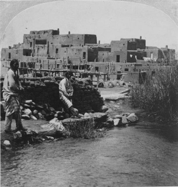 Historical photo of Taos Pueblo.
