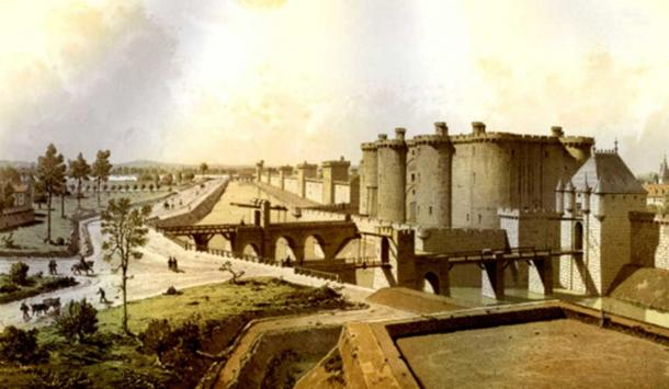 Historical reconstruction showing the moat below the walls of Paris (left), the Bastille and the Porte Saint-Antoine (right) in 1420. (Public Domain)