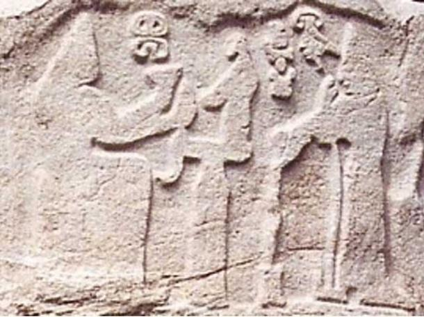 Hittite relief of the influential Queen Puduhep and King Hebat, Kayseri, Turkey.