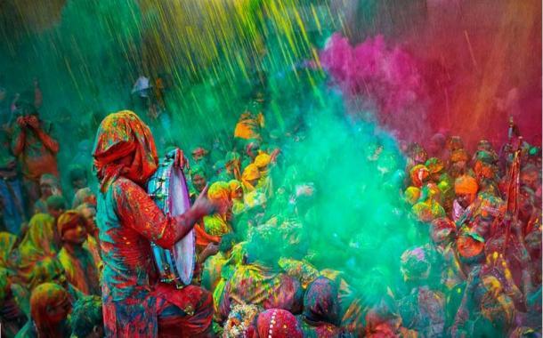 A modern Holi festival celebration, India