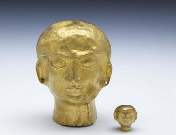 Hollow gold heads of beardless men made from a single piece of hammered sheet, Oxus Treasure.