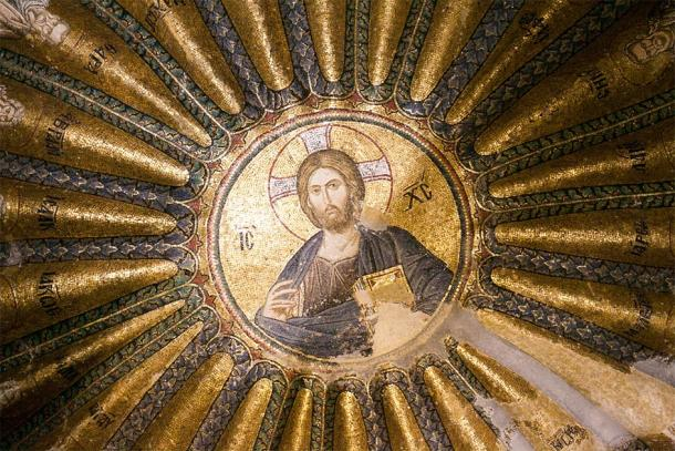 The Holy Saviour was originally a Byzantine Church. Spectacular mosaic in the center of its domed ceiling. Credit: Nastya Tepikina / Adobe Stock