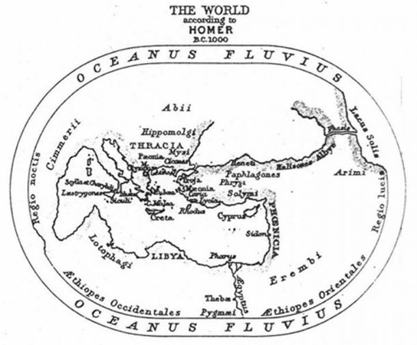 Homer's conception of the world during the Heroic era. From The Challenger Reports (1895) (Public Domain)