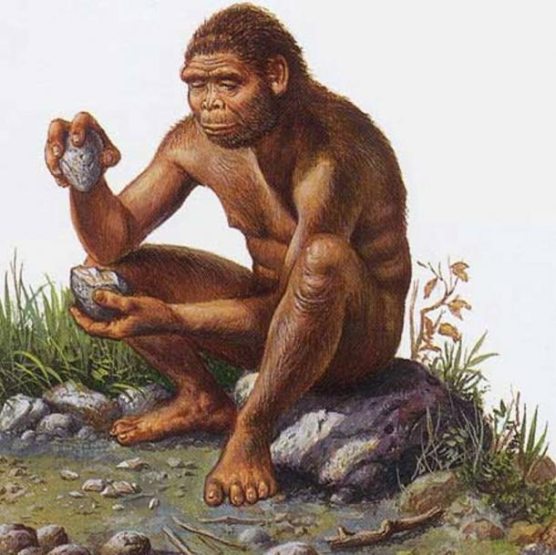 "Illustration of the species Homo habilis (genus Homo between 2.1 and 1.5 million years ago) shaping a tool by ""knapping""."