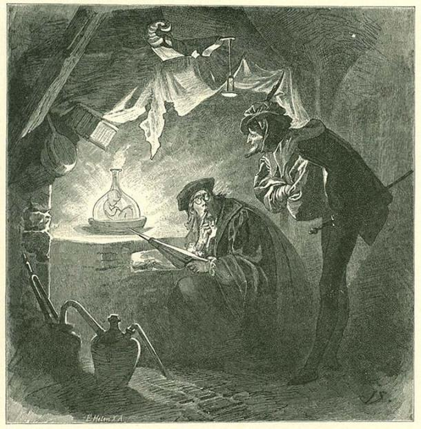 Homunculus in the Vial. Illustration of Johann Wolfgang von Goethe, Faust. Part Two, Act II, laboratory, 1899 (public domain)
