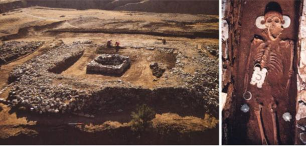 Hongshan platform at Niuheliang (Left) and central burial with carved jades from another platform (Right).