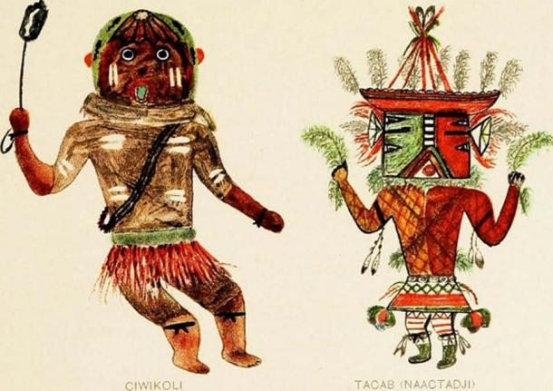 Hopi Katcinas drawn by native artists (1904). (The Commons) CiwikoU wears a kilt made of red-stained horsehair, and a ban-doleer. He carries a whizzer or bull roarer in his right hand. A foxskin is tied about his neck.