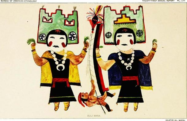 Hopi Katcinas drawn by native artists (1904). (The Commons) the Heart-of-the-sky god,who is readily i-ecognized by the single curved horn on the headand the rain-cloud symbols on the face and base of the horn. In his left hand he carries the framework of sticks which symbolizesthe lightning. This framework has attached to each angle an eaglefeather, which the painter has indicated in black lines. In the right hand he carries the whizzer or bull-roarer, a slat towhich a string is attached, with lightning represented bj a zigzagband in red. Two bandoleers are represented.