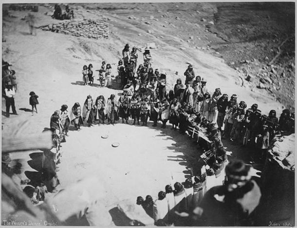 Hopi Women's Dance, 1879, Oraibi, Arizona, photo by John K. Hillers