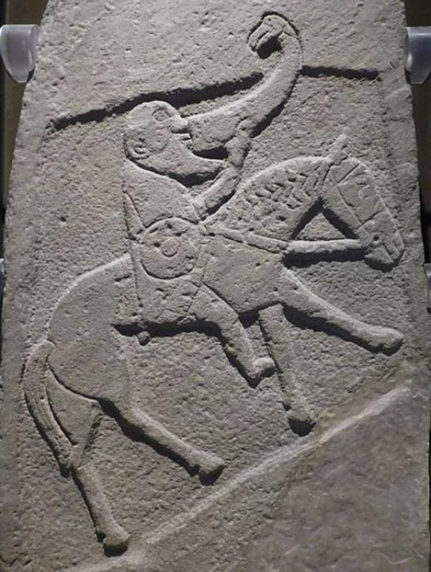 The Horn of Bran was said to provide its owner with whichever drink they wished. Bearded Pictish warrior from the Bullion Stone, Angus, now in the National Museum of Scotland.