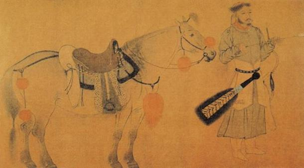 This painting, titled 'Horse and Archer,' is believed to have been painted by Yelü Bei.