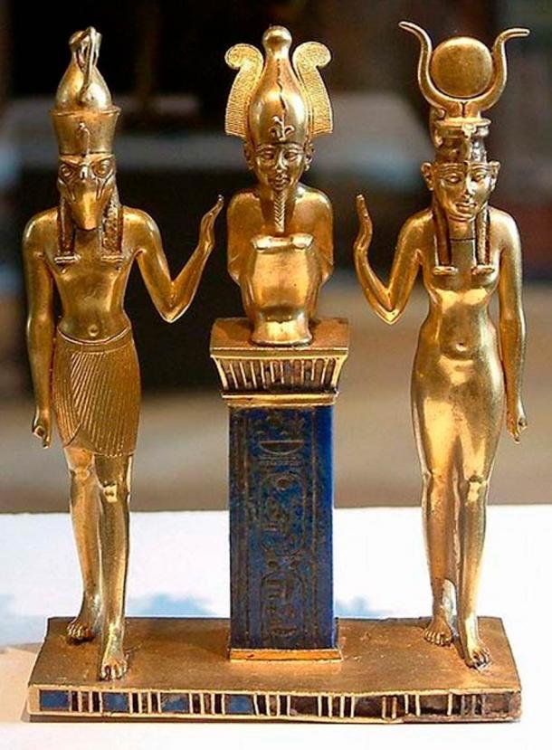Horus, Osiris, and Isis: pendant bearing the name of King Osorkon II