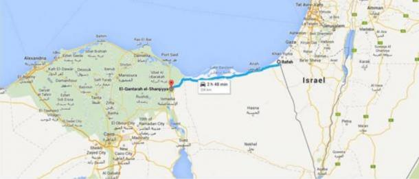 This Google Map shows the present-day route of the ancient Horus Military Route from Qantara to Rafah. The body of water to the north is the Mediterranean Sea.