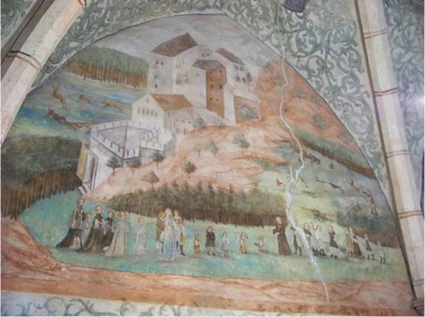 Houska Castle, Česká Lípa District, Liberec Region, the Czech Republic. A renaissance fresco in the Green Room.