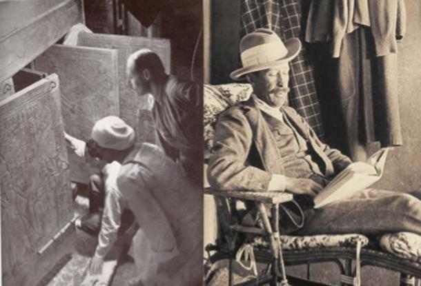 On Left – Howard Carter and associates opening the shrine doors of Tutankhamun's burial chamber. On Right – The death of Lord Carnarvon after the opening of Tutankhamun's tomb resulted in many curse stories in the press. (Left, Public Domain; Right, Public Domain)