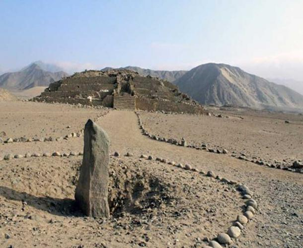 The Huanca monolith at the Caral complex. (Goshen College)