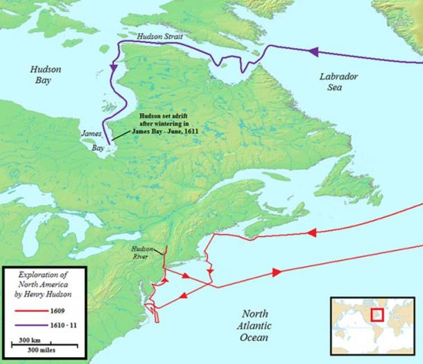 Map of Hudson's voyages to North America.