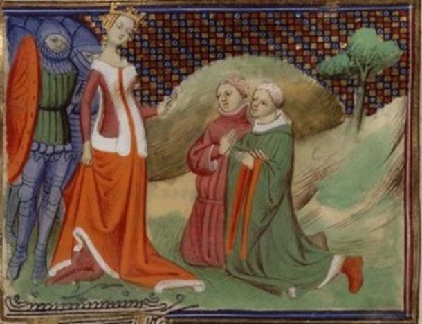 Hugh Despenser the younger and Edmund Fitzalan brought before Isabella for trial in 1326; the pair were gruesomely executed. (visualiseur.bnf.fr / Public Domain)