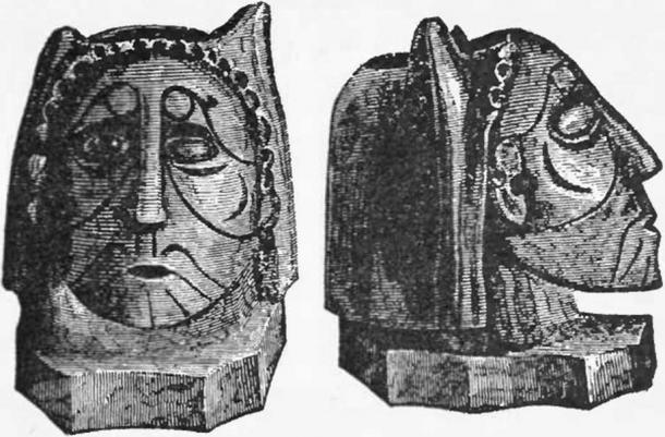 Human effigy pipe made of hard, compact, black stone, with holes in the headdress for pearls. Found by Squier & Davis in an Ohio burial mound.