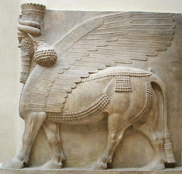 Human-headed winged bull found during Botta's excavation of the Lost City of Dur-Sharrukin. (Jastrow / Public Domain)