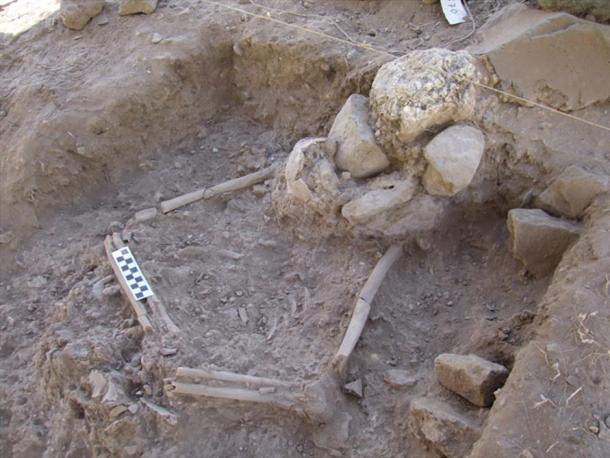 Human remains found at the NEG II site by the Sea of Galilee.