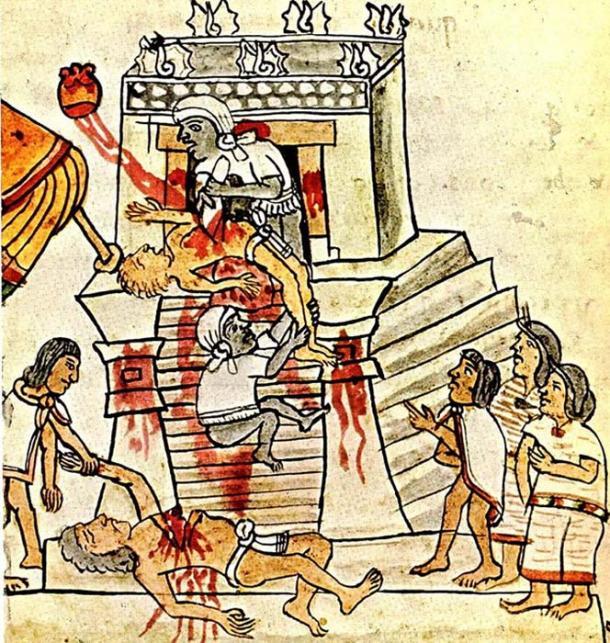 Human sacrifice as shown in the Codex Magliabechiano, Folio 70.
