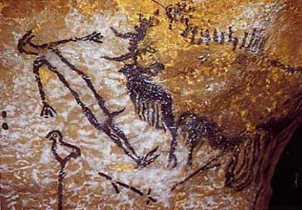 Humanoid therianthrope, grouse and bison, Lascaux, France