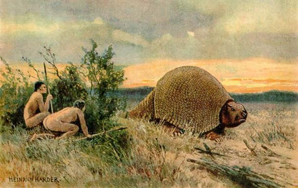 Humans hunting Glyptodon, by Heinrich Harder. (Public Domain)
